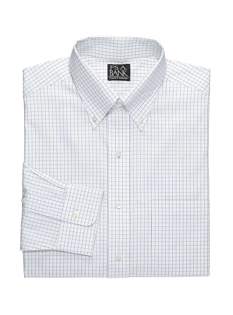 Traveler Collection Tailored Fit Button-Down Collar Grid Dress Shirt