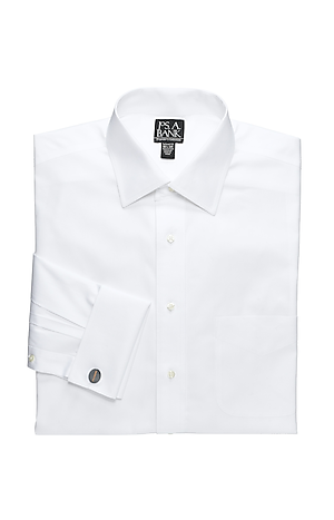 Men's Shirts, Traveler Collection Tailored Fit Spread Collar French Cuff Dress Shirt - Jos A Bank