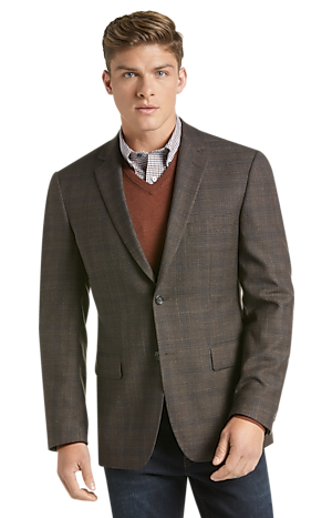 Traveler Collection Men's Tailored Fit Plaid Sportcoat