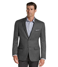 Executive Collection Tailored Fit Herringbone Sportcoat (Grey)