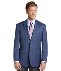 Travel Tech Collection Glen Plaid Tailored Fit Sportcoat (Blue)