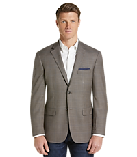 Traveler Collection Men's Tailored Fit Windowpane Sportcoat (Brown)