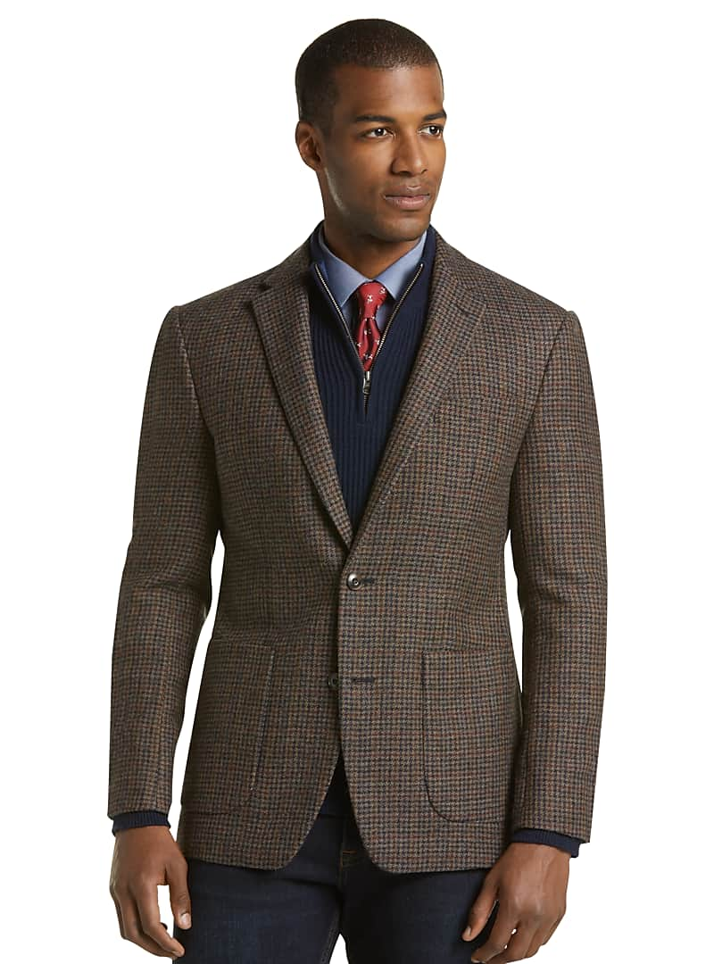 1905 Collection Slim Fit Houndstooth Plaid Sportcoat with brrr