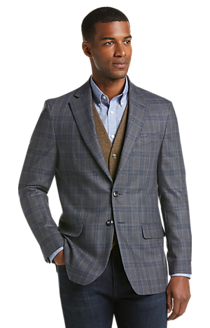 Men's SportCoats, 1905 Collection Tailored Fit Windowpane Plaid Sportcoat - Jos A Bank
