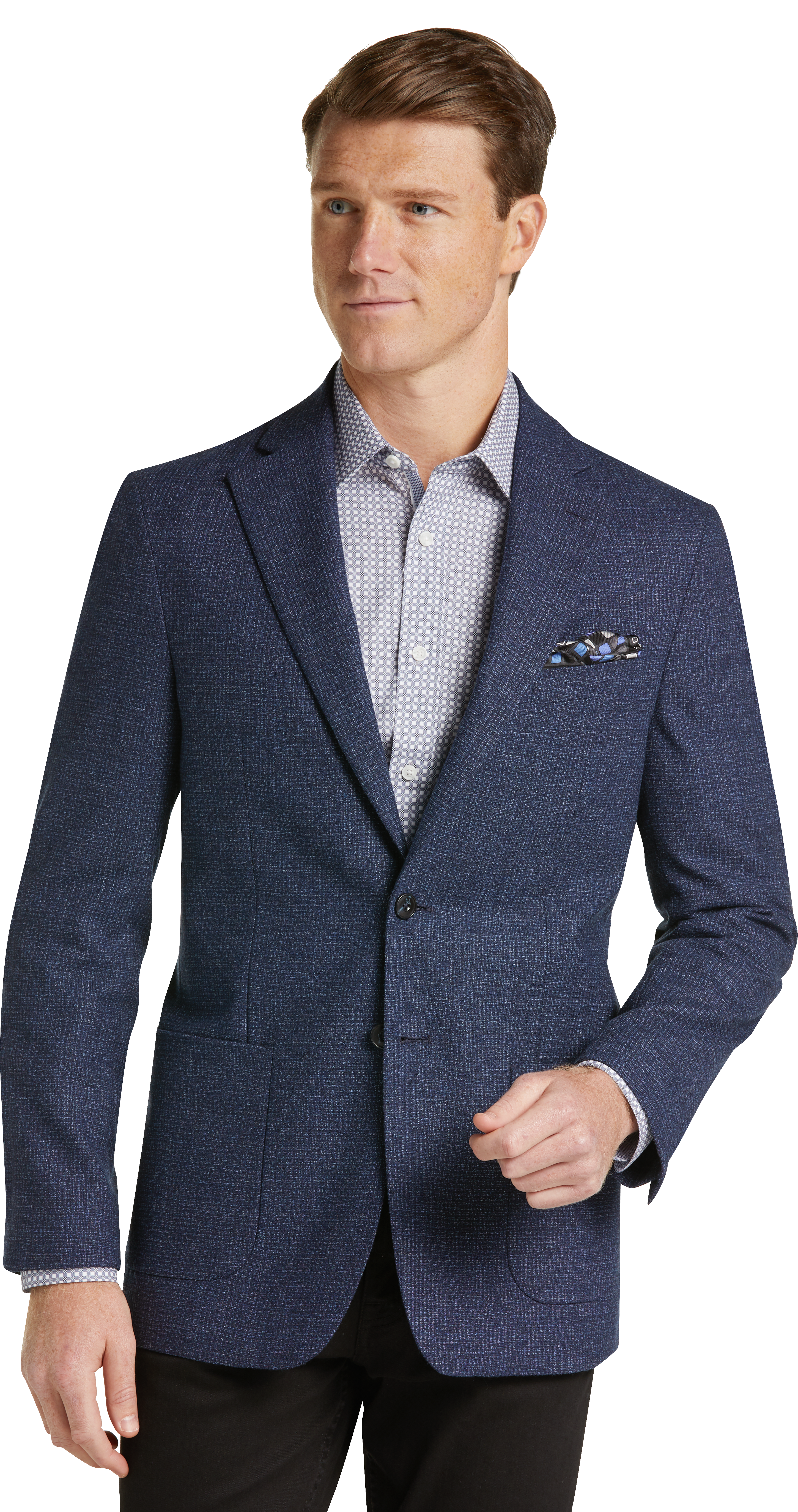 1905 Collection Tailored Fit Mini Check Sportcoat with brrr comfort