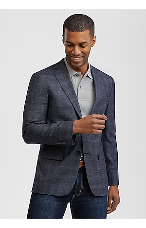 Men's SportCoats, Traveler Collection Slim Fit Windowpane Plaid Sportcoat - Jos A Bank
