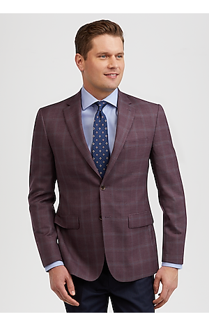 Men's SportCoats, Traveler Collection Tailored Fit Windowpane Plaid Sportcoat - Jos A Bank