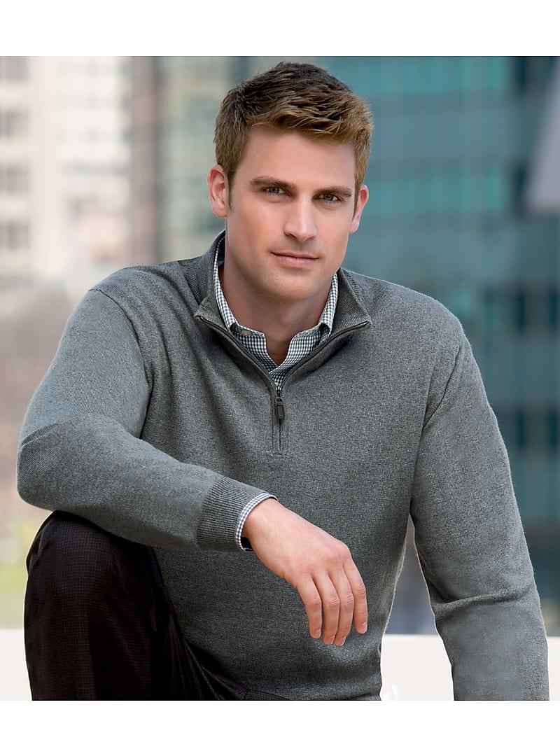 Signature Merino Wool Quarter-Zip Sweater - Big & Tall CLEARANCE