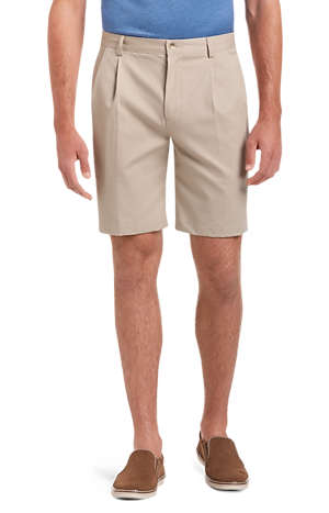 Men's FLYOUT_CATEGORY, Traveler Collection Traditional Fit Pleated Front Twill Shorts - Big & Tall - Jos A Bank