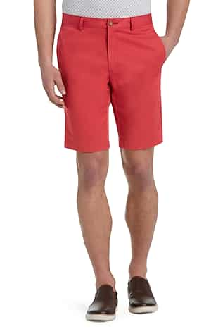 1905 Collection Tailored Fit Flat Front Twill Shorts (Red / Dark Olive)