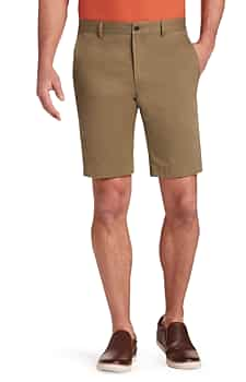 1905 Collection Tailored Fit Flat Front Twill Shorts