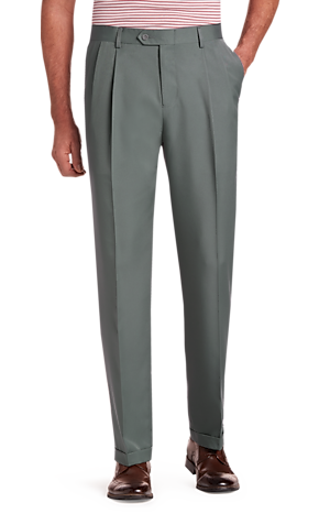 Men's Pants, Traveler Performance Traditional Fit Pleated Front Pants - Jos A Bank