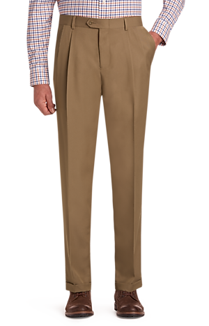 Men's FLYOUT_CATEGORY, Traveler Collection Performance Traditional Fit Pleated Front Pants - Big & Tall - Jos A Bank