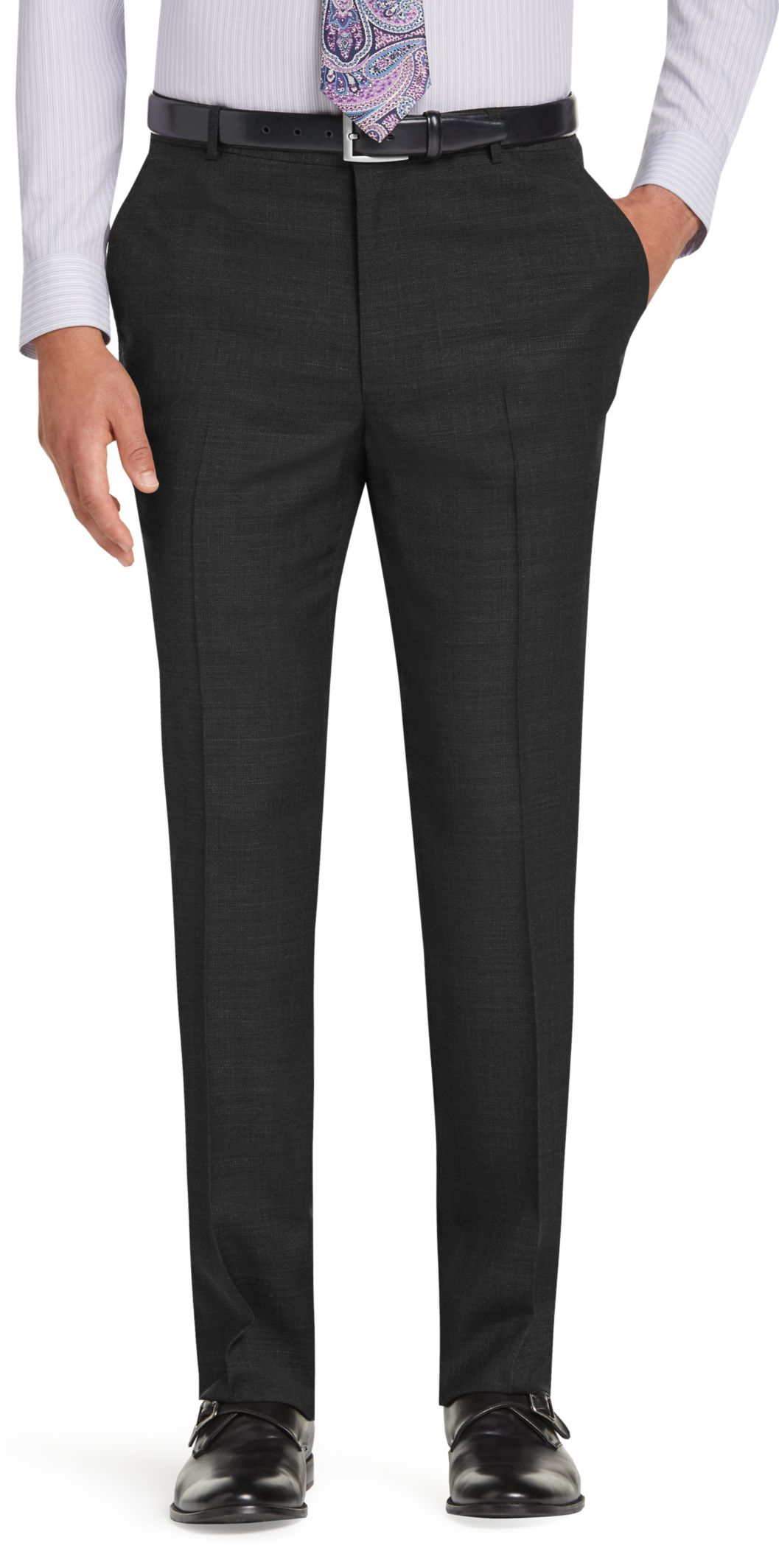 Traveler Collection Tailored Fit Flat Front Washable Wool Dress Pants (Charcoal)