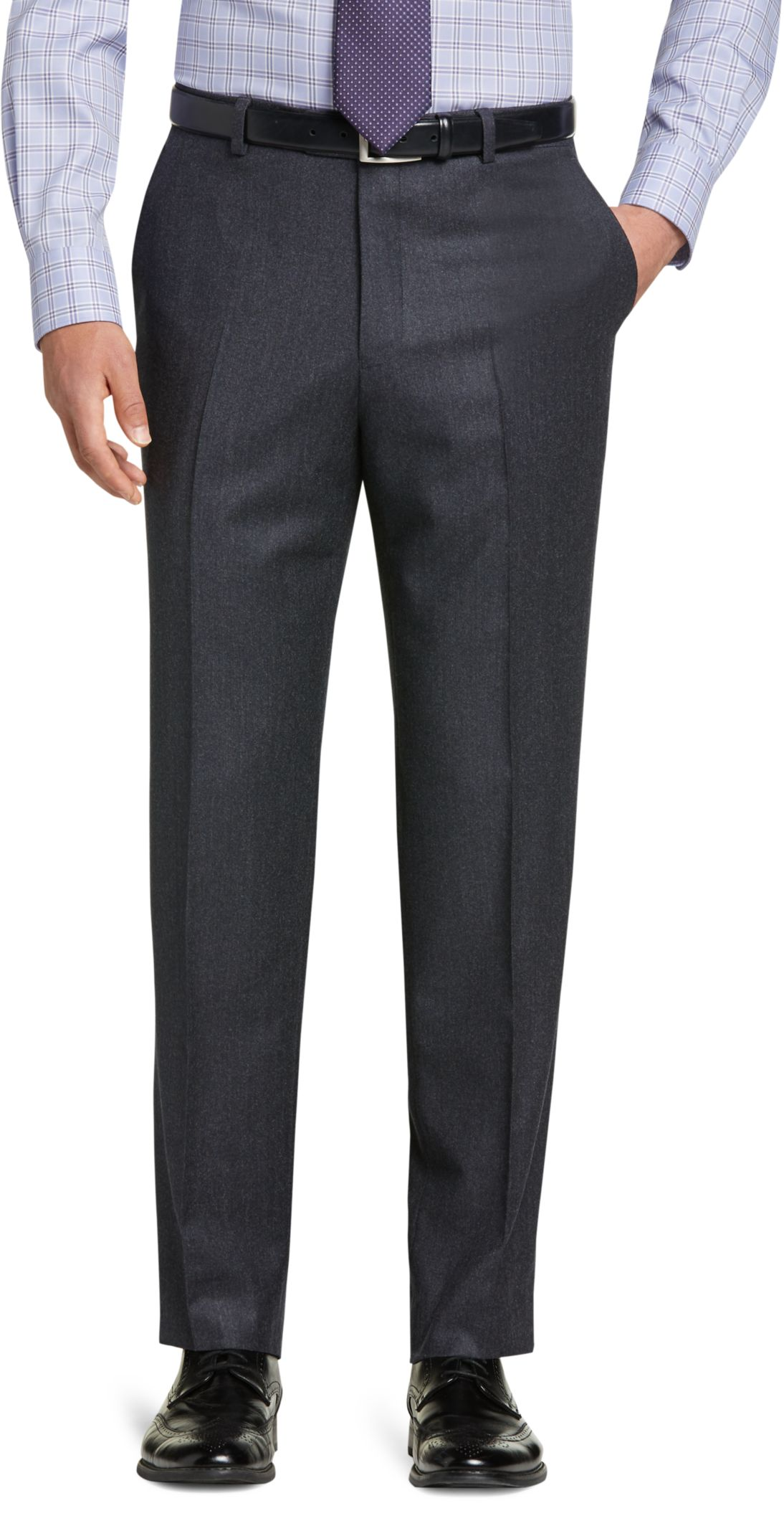 Reserve Collection Tailored Fit Flat Front Micro Tweed Dress Pants