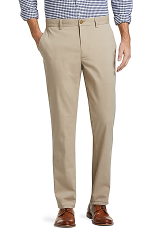 Men's Pants, 1905 Collection Tailored Fit Flat Front Chino Pants - Jos A Bank