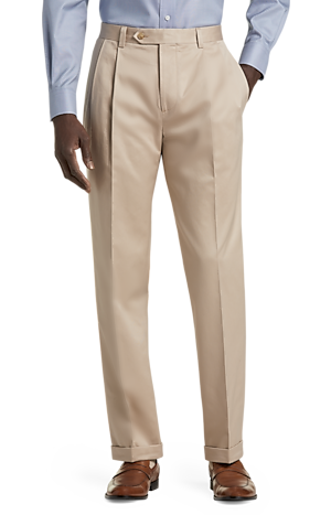 Men's Pants, Traveler Collection Original Fit Twill Pleated Front Casual Pant - Jos A Bank