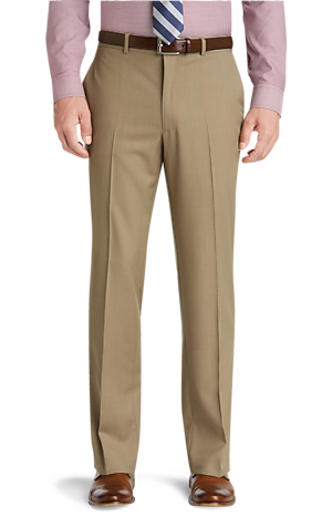 Men's FLYOUT_COLLECTION, Traveler Collection Tailored Fit Flat Front Washable Wool Dress Pants - Big & Tall - Jos A Bank