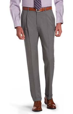 Men's Clearance, Signature Collection Traditional Fit Pleated Dress Pants CLEARANCE - Jos A Bank