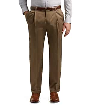 Traveler Collection Traditional Fit Pleated Front Twill Pants