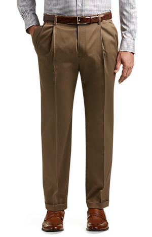 Men's Pants, Traveler Collection Traditional Fit Pleated Front Twill Pants - Jos A Bank