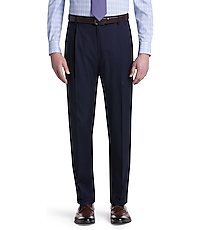 Men's Pants, Traveler Collection Traditional Fit Pleated Washable Wool Pants - Jos A Bank