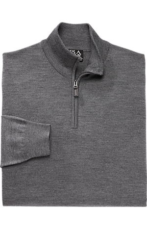 Men's Sweaters, Traveler Collection Merino Wool Quarter Zip Mock-Neck Sweater - Jos A Bank