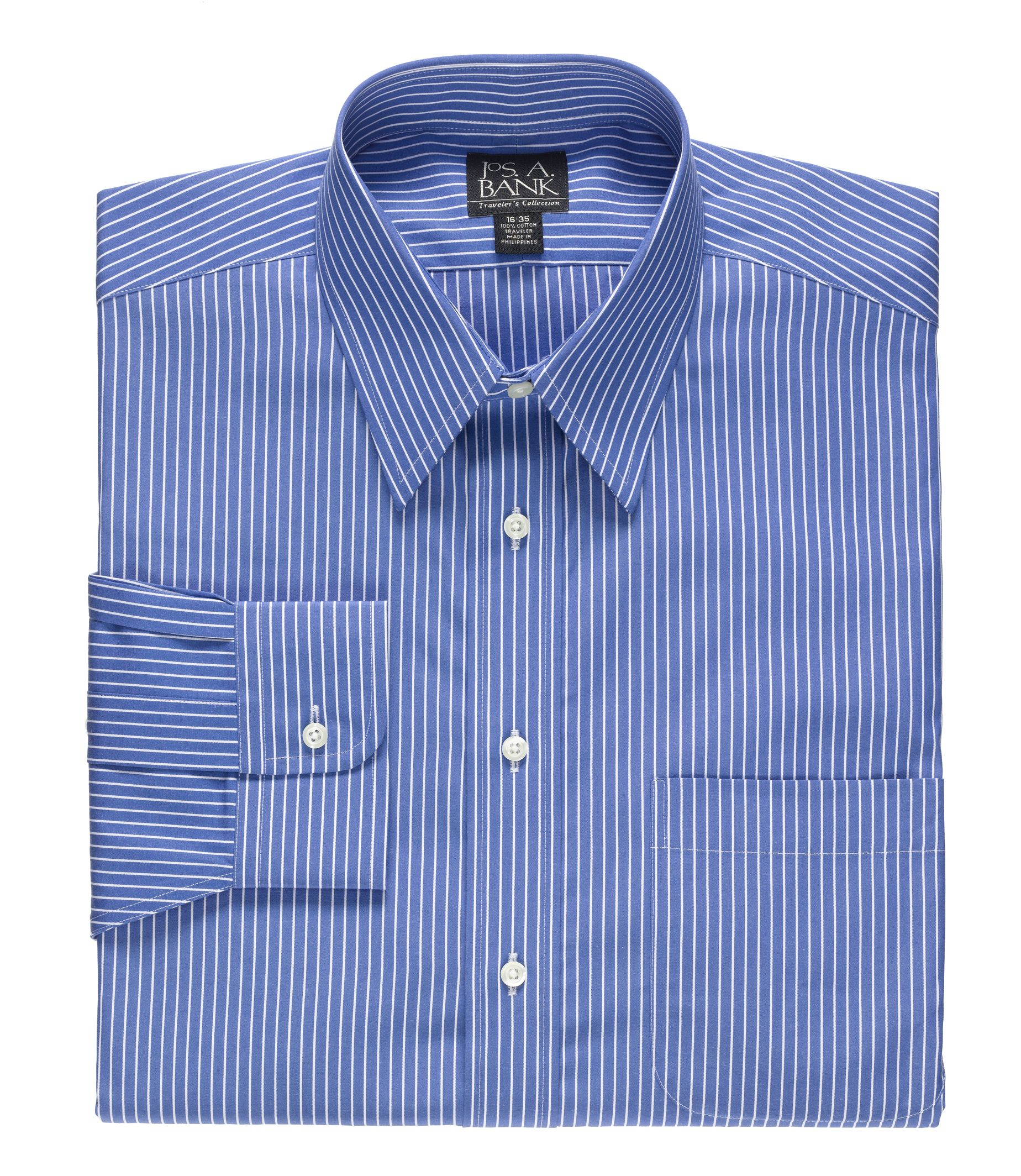 Traveler Collection Traditional Fit Point Collar Stripe Dress Shirt