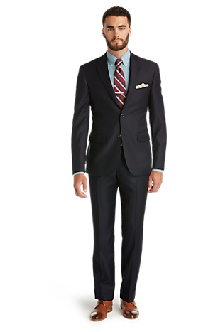 Men's Suits, Signature Collection Tailored Fit Solid Pattern Suit - Jos A Bank