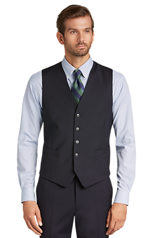 1905 Collection Tailored Fit Textured Suit Separate Vest - Big & Tall
