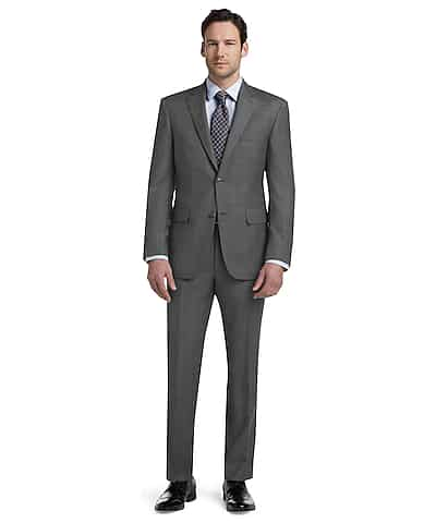 Signature Collection Tailored Fit Pindot Windowpane Suit