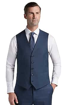 Traveler Collection Slim Fit Sharkskin Suit Separates Vest