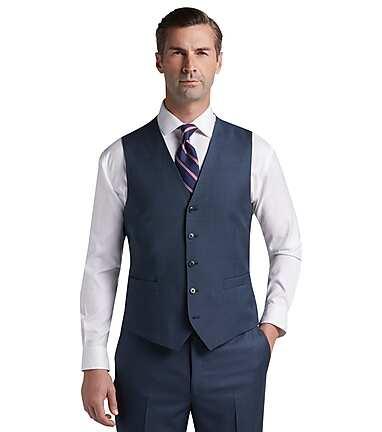 5feec9645111 Traveler Collection Tailored Fit Sharkskin Suit Separates Vest - Big ...