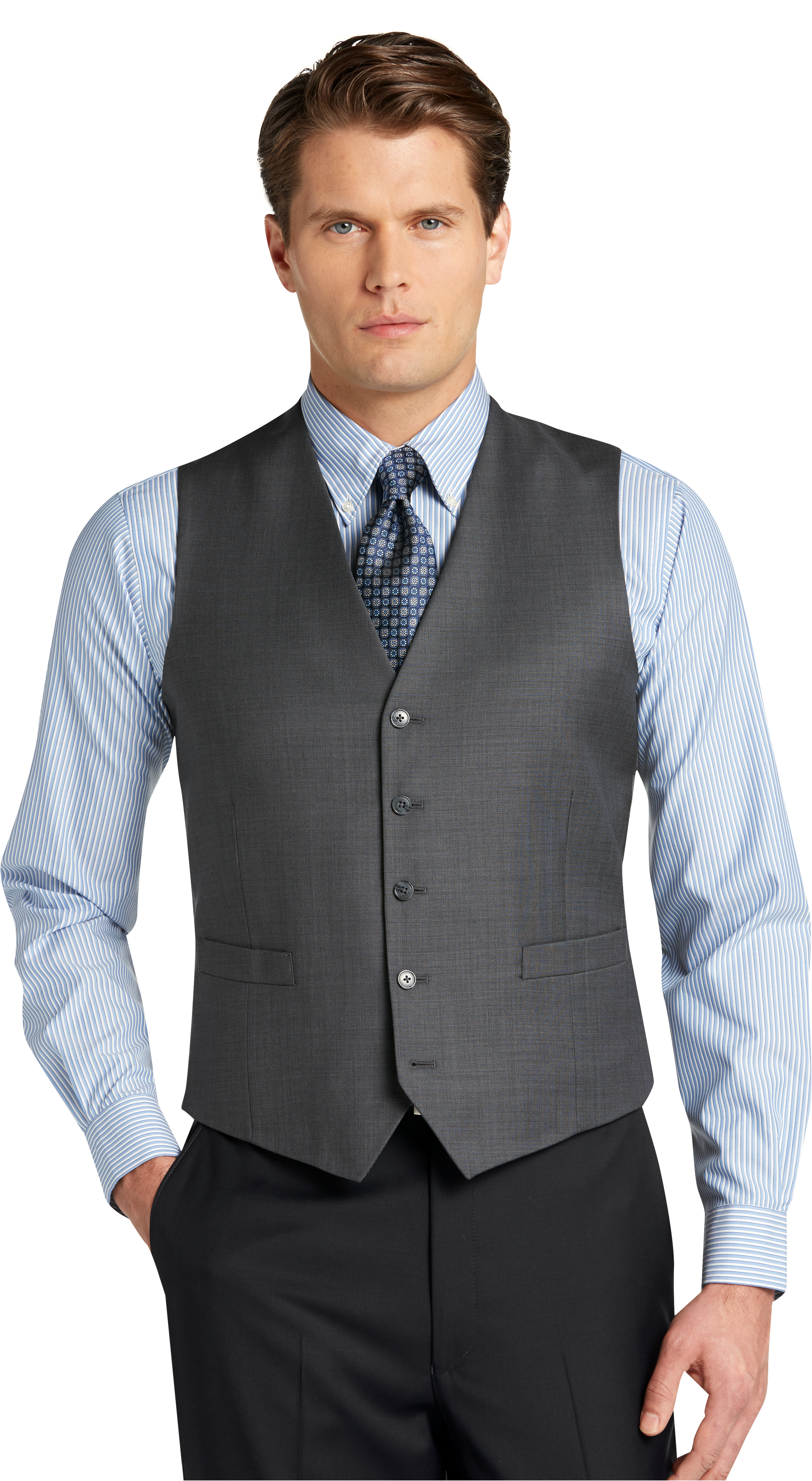 413b7eb82859 Traveler Collection Tailored Fit Sharkskin Suit Separate Vest - Big & Tall  #3FPD
