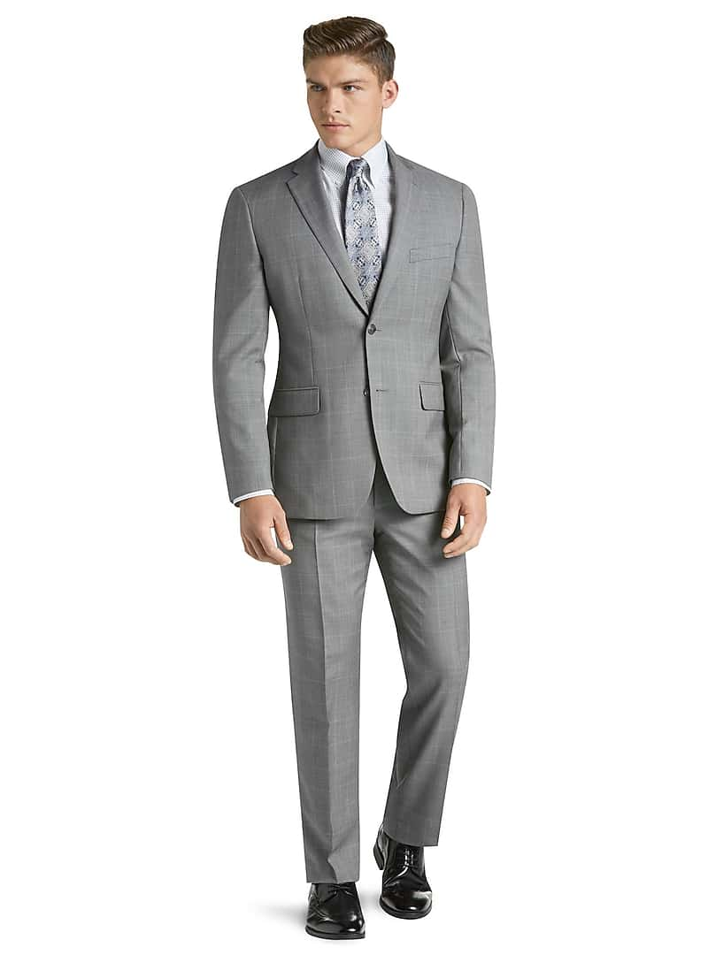 Traveler Collection Tailored Fit Sharkskin Windowpane Suit