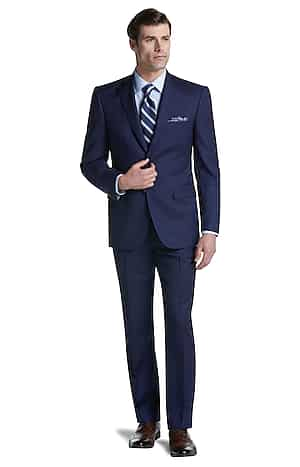 Reserve Collection Tailored Fit Windowpane Suit (Bright Navy)