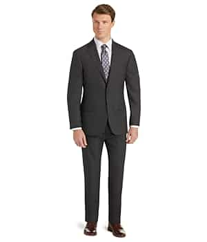 1905 Collection Slim Fit Windowpane Plaid Suit with brrr comfort