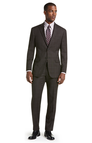 Men's Suits, 1905 Collection Tailored Fit Windowpane Suit with brrr°? comfort - Jos A Bank