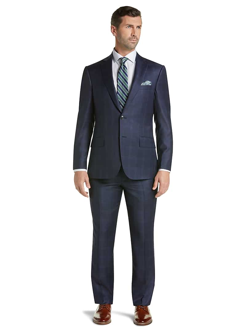 Reserve Collection Tailored Fit Windowpane Plaid REDA 1865 SustainaWool? Suit