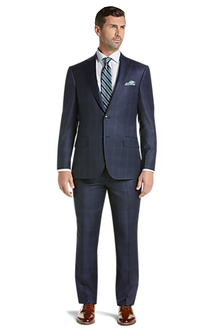 Men's Special Categories, Reserve Collection Tailored Fit Windowpane Plaid REDA 1865 SustainaWool? Suit - Jos A Bank
