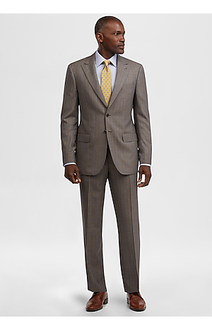 Men's FLYOUT_COLLECTION, Reserve Collection Tailored Fit Herringbone Stripe Suit - Big & Tall - Jos A Bank