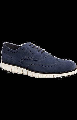 Men's Shoes, Cole Haan Zerogrand Navy Suede Wingtip Oxfords - Jos A Bank