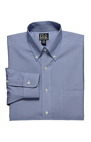 Men's Shirts, Traveler Collection Traditional Fit Button-Down Collar Micro Houndstooth Dress Shirt - Jos A Bank