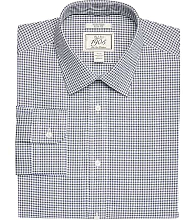 d5eeabbe 1905 Collection Slim Fit Spread Collar Mini Gingham Dress Shirt CLEARANCE  #51F9