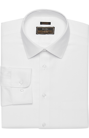 Reserve Collection Tailored Fit Spread Collar Herringbone Weave Dress Shirt