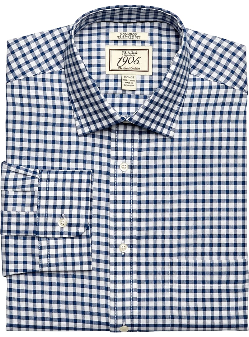 1905 Collection Tailored Fit Spread Collar Gingham Dress Shirt