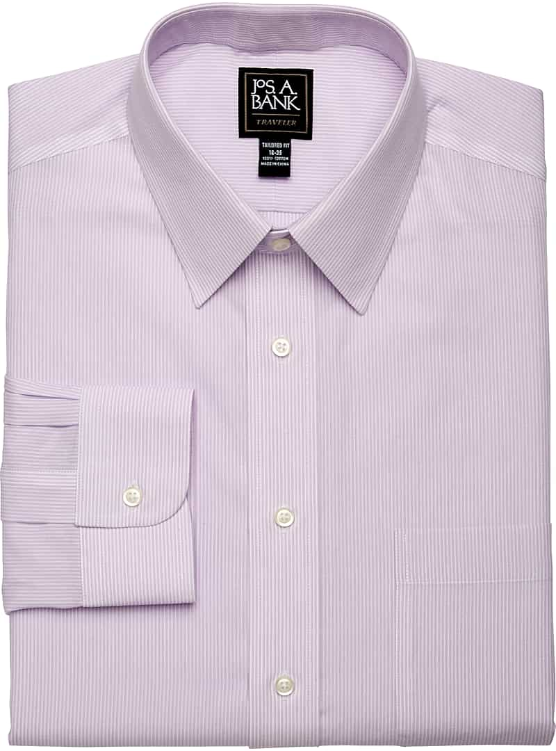 Traveler Collection Tailored Fit Point Collar Stripe Dress Shirt
