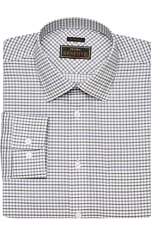 Reserve Collection Traditional Fit Spread Collar Check Plaid Dress Shirt