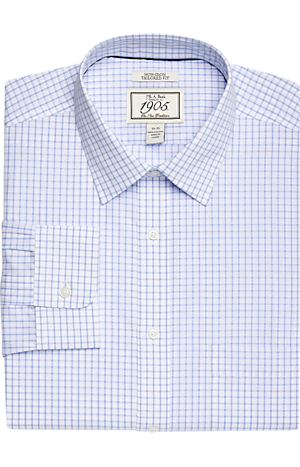 Men's Clearance, 1905 Collection Tailored Fit Spread Collar Tattersall Dress Shirt - Big & Tall CLEARANCE - Jos A Bank
