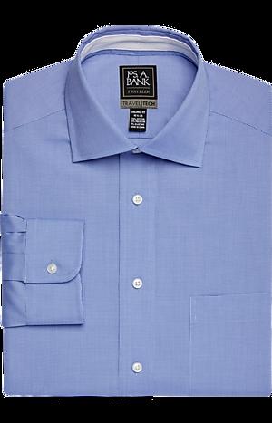 Men's Shirts, Travel Tech Tailored Fit Spread Collar Micro Weave Dress Shirt - Jos A Bank